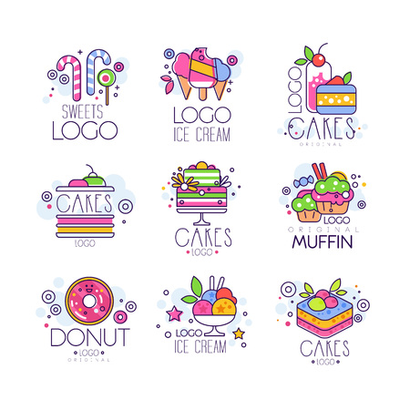 Sweets, cakes, ice cream logos set, confectionery and bakery products vector Illustrations isolated on a white background Illustration