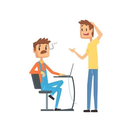 Computer technician helping office worker, engineer system IT administrator at work cartoon vector illustration