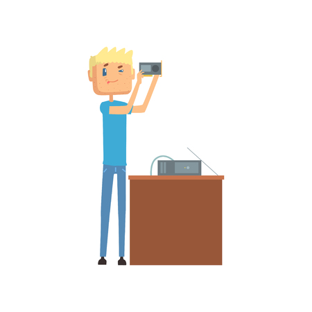 System administrator, networking service cartoon vector illustration