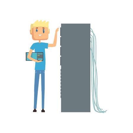 データセンターで働くネットワークエンジニア管理者、サーバーメンテナンス支援漫画ベクトルイラスト