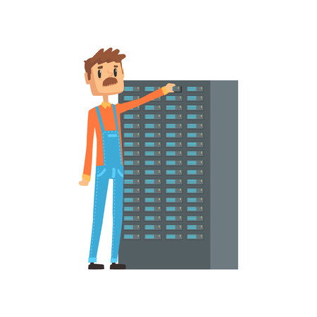 Network engineer administrator working with hardware equipment of data center, network engineer involved in maintenance of system modules cartoon vector illustration