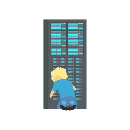 Network engineer administrator working in data center, server rack networking service cartoon vector illustration
