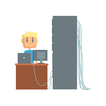 Netwerkingenieur beheerder werkt in datacenter met behulp van computer verbonden met server rack, server onderhoud ondersteuning cartoon vector illustratie geïsoleerd op een witte achtergrond