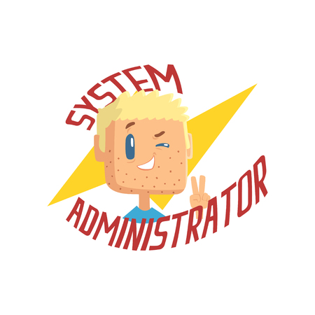 System administrator, computer and technical support cartoon vector illustration isolated on a white background  イラスト・ベクター素材
