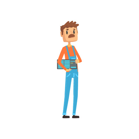 Computer technician or system administrator, engineer system IT administrator at work cartoon vector illustration Illustration