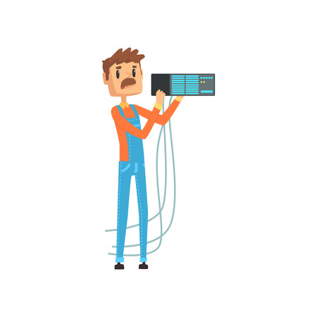 Network engineer involved in maintenance of system module cartoon vector illustration isolated on a white background Ilustrace