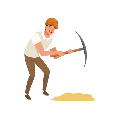 Young cheerful man working with pickaxe. Cartoon archaeologist character in protective helmet, shirt and pants. Professional at work. Tool for archaeological excavation. Isolated flat vector design. Illustration