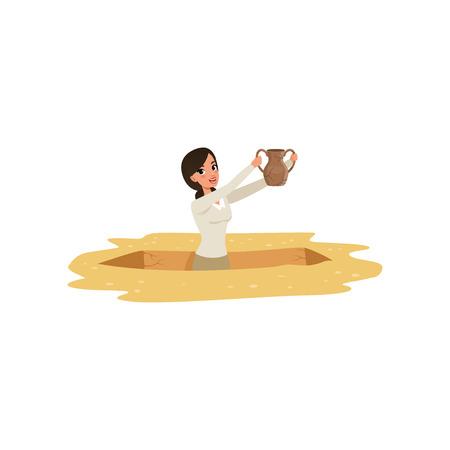 Cartoon giovane ragazza archeologo fino alla cintola nella fossa con la vecchia brocca in ceramica nelle mani. Scavi di antichi manufatti. Carattere felice bella donna. Disegno vettoriale piatto Logo