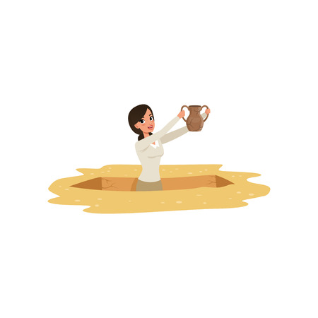 Cartoon young girl archaeologist waist-deep in the pit with old ceramic jug in hands. Ancient artifacts excavation. Happy pretty woman character. Flat vector design