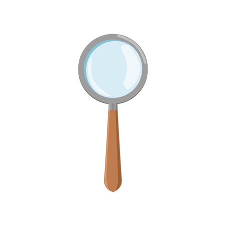 Cartoon magnifying glass with gray frame and brown wooden handle. Icon of loupe. Archeology tool used for enlarge small objects. Flat vector design Vectores