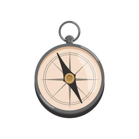 Cartoon icon of silver compass with black arrow retro navigational tool for archaeologist. Graphic design for computer or mobile game colored vector illustration in flat style isolated on white background. Illustration
