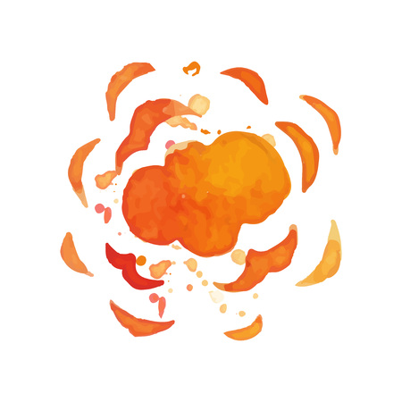 Hand drawn illustration of explosion effect. Colorful burst. Bright blowing up. Watercolor painting in red and orange colors. Vector design for poster or banner Ilustração