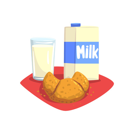 Transparent glass of fresh milk and sweet croissant on red table-napkin. Healthy and delicious breakfast. Food and drink concept. Cartoon flat vector design