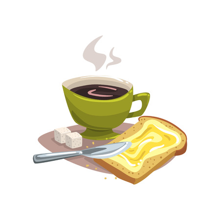 Cartoon green mug with hot coffee, bread with butter and two cubes of sugar. Delicious breakfast concept. Good morning. Flat vector design for restaurant or cafe menu Illustration