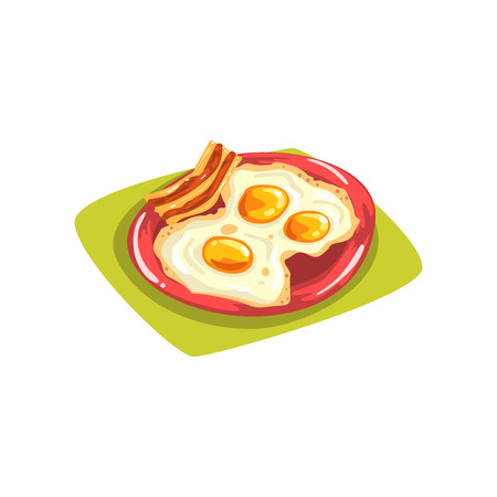 Cartoon eggs with bacon on red plate. Traditional American breakfast. Good morning. Flat vector element for print, card, flyer or kids menu