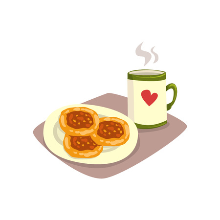 Big cup of hot tea or coffee and tasty homemade fritters on plate. Appetizing breakfast. Cartoon food and drink. Good morning concept. Flat vector design