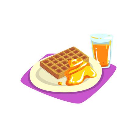 접시에 꿀와 벨기에 와플 갓 압착 된 오렌지 주스. 맛있고 달콤한 아침. 좋은 아침 개념. 만화 플랫 벡터 디자인