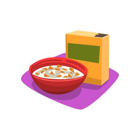 Bacia vermelha completamente de flocos de milho com leite. Conceito de pequeno-almoço. Comida rápida. Bom Dia. Projeto de vetor plana dos desenhos animados para cartaz promocional ou banner Foto de archivo - 93877365