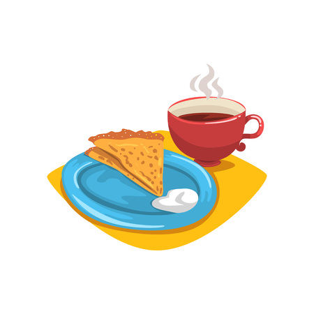 Pancake with sour cream, folded into triangle on plate and mug of hot coffee. Healthy and tasty dessert. Breakfast concept. Food and drink. Cartoon flat vector design