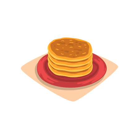 Stack of delicious pancakes on red plate. Tasty fast food dessert breakfast concept. Graphic design for menu or recipe book cartoon vector illustration in flat style isolated on white background. Stok Fotoğraf - 93715584