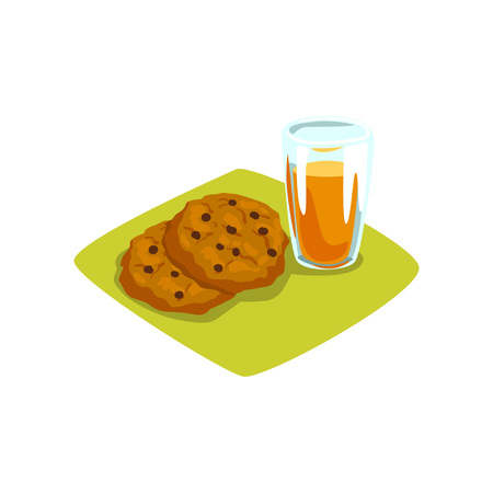 Delicious cookies with chocolate chips and glass of freshly squeezed orange juice. Sweet food and drink. Appetizing breakfast. Cartoon flat vector design