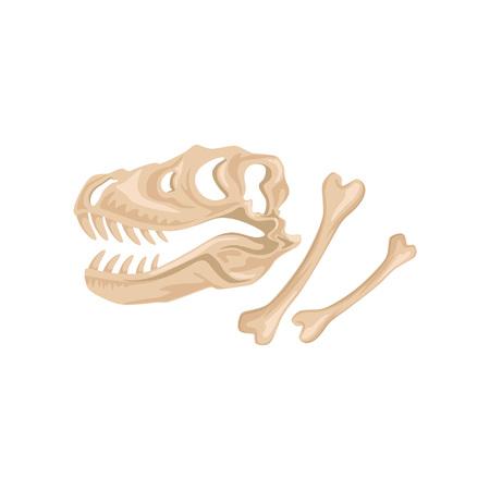 Tyrannosaurus Rex의 해골과 뼈. 공룡 골격의 고대 유적. 선사 시대의 파충류. 고생물학 개념입니다. 고고학 아이콘입니다. 플랫 벡터 디자인 일러스트