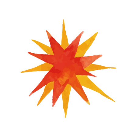 Bang effect in shape of two colored polygonal stars. Blowing up. Watercolor painting in red and orange colors. Vector for sketchbook cover, children s book or poster Illustration