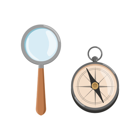 Icon of magnifying glass loupe with wooden handle and compass. Archeology symbols. Flat vector design for web site or mobile application