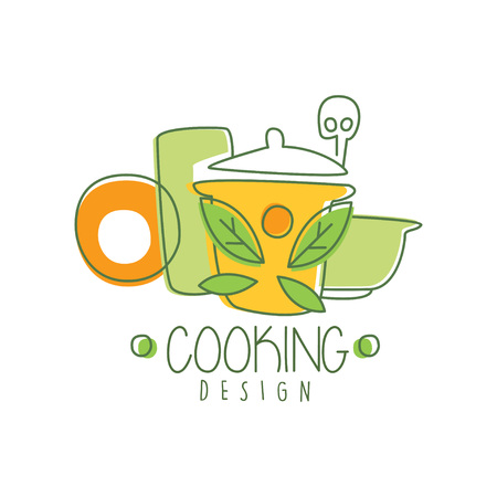 Culinary hand drawn cooking icon original design with colorful cookware. Abstract line drawing of kitchen utensils for home made food. Vector on white.