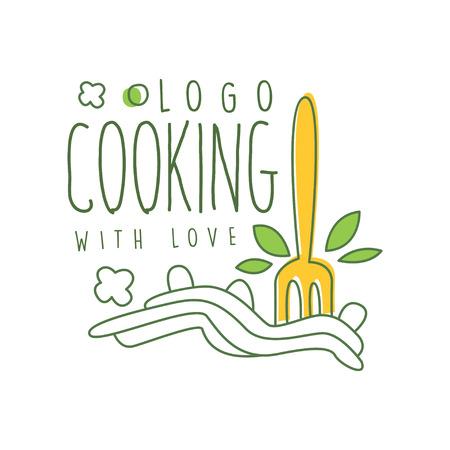 パスタにフォークのイラストを入れた愛ロゴデザインで調理。自家製麺の抽象的な線画画。白に手描きベクトル。