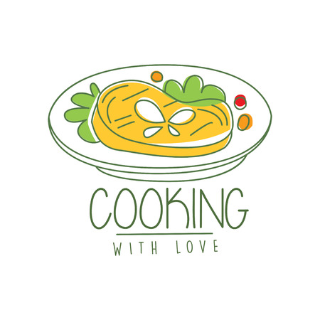 Hand drawn culinary logo original design with tasty dish. Meat with greens and vegetables. Line label or icon for cafe menu, cooking school. Vector on white.
