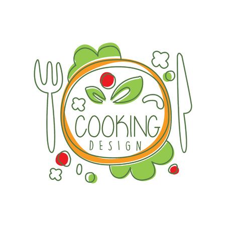 Culinary logo original design with top view dinner dish and lettering. Creative label for cafe or restaurant card, menu, food delivery. Vector on white.