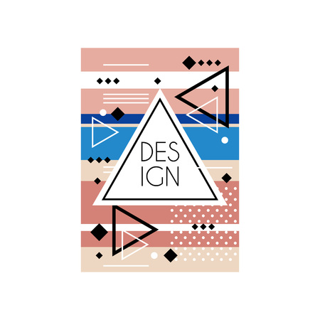 Abstract poster in memphis style. Chaotic geometric ornament with different shapes. Triangular frame with place for text. Vector design for card, cover or banner