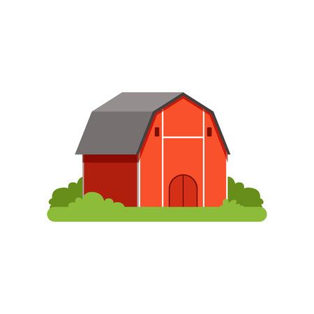 Red barn, farm building, countryside life object vector Illustration Illusztráció