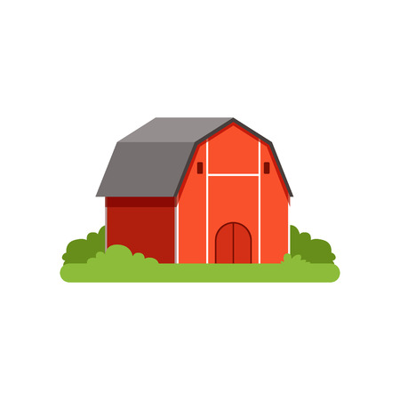 Red barn, farm building, countryside life object vector Illustration Illustration