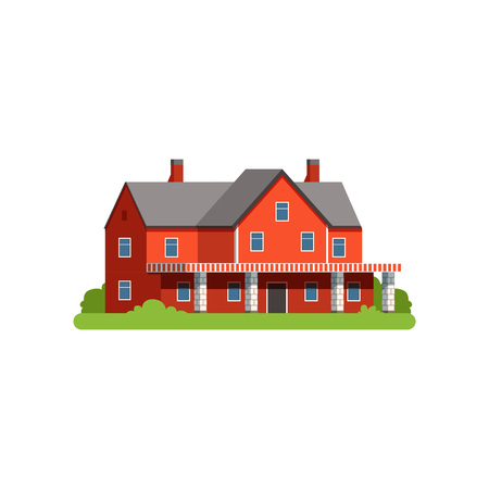 Farm house, countryside life object vector Illustration Vettoriali