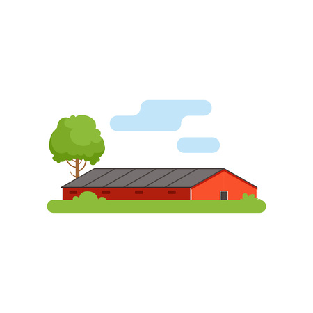 Red barn, agricultural farm building, countryside life object vector Illustration Ilustração
