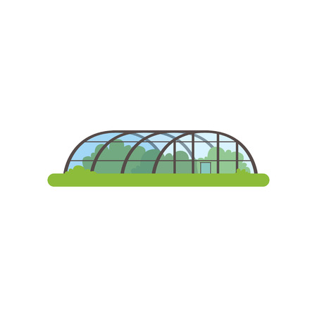 Greenhouse with glass walls, farm building vector Illustration Çizim