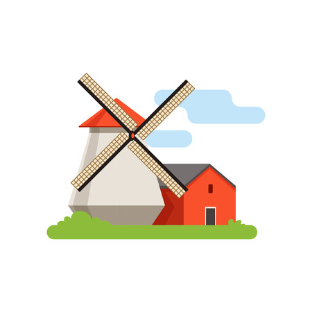 Windmill, mill, rural landscape, farm building, countryside life object vector Illustration