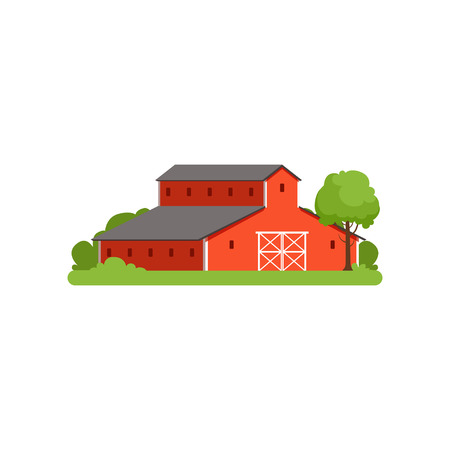 Red barn, agricultural farm building, countryside life object vector Illustration Illustration
