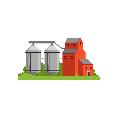 Agricultural silo towers and farm buildings, countryside life object vector Illustration 일러스트
