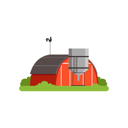 Red barn and silo tower, farm building, countryside life object vector Illustration Иллюстрация