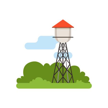 워터 타워, 농장 건물, 시골 생활 개체, 시골 풍경 벡터 일러스트