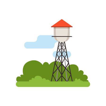 Water tower, farm building, countryside life object, rural landscape vector Illustration