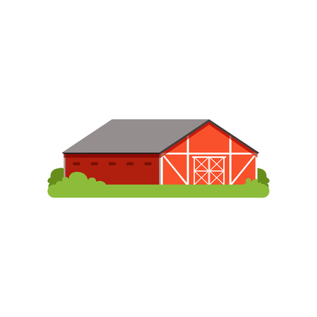 붉은 헛간, 농업 건물, 시골 생활 개체 벡터 일러스트 레이션