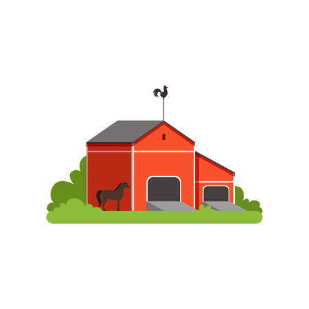 Red barn, rural farm building, countryside life object vector Illustration on a white background