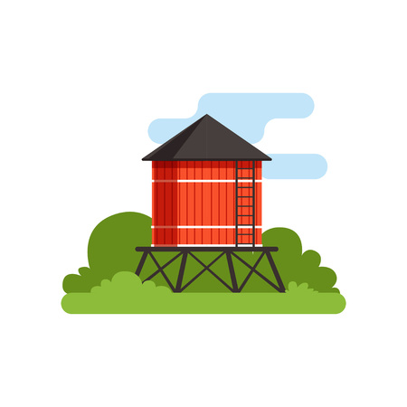 Water tower, farm building, countryside life object vector Illustration