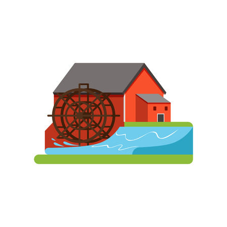 Old water mill, farm building, countryside life object vector Illustration on a white background