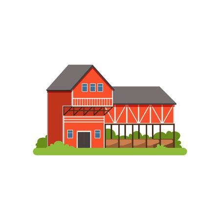 Maison de ferme et grange, bâtiment agricole, vecteur d'objet de vie à la campagne Illustration Banque d'images - 93968872