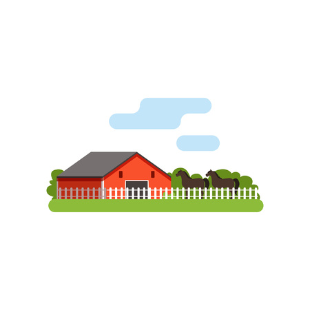 Red barn, horse in the corral on farm, rural landscape vector Illustration Illustration